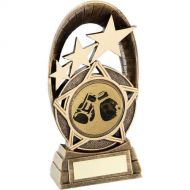 Bronze/Gold Generic Tri-Star Oval Boxing Trophy - 5.5in