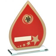 Red/Gold Printed Glass Teardrop Boxing Trophy - 8in