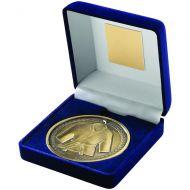Blue Velvet Box Medal Martial Arts Trophy Antique Gold 4in