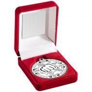 Red Velvet Box Medal Martial Arts Trophy Silver 3.5in