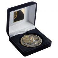 Black Velvet Box And 60mm Medal Martial Arts Trophy Antique Gold 4in : New 2019