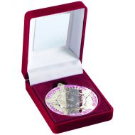 Red Velvet Box Medal Star/Torch Trophy Silver 3.5in