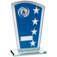Blue/Silver Printed Glass Shield Angling Trophy - 7.25in