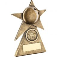 Bronze/Gold Ten Pin Star On Pyramid Base Trophy - - 6in