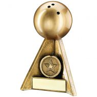 Bronze/Gold Ten Pin Pyramid Trophy 4in