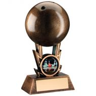 Bronze/Gold Ten Pin Ball On Strikes Trophy 6in