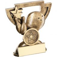 Bronze/Gold Ten Pin Mini Cup Trophy - 4.25in