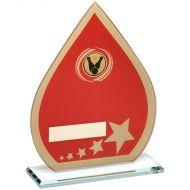Red/Gold Printed Glass Teardrop Ten Pin Trophy - 8in