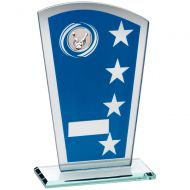 Blue/Silver Printed Glass Shield With Ten Pin Insert Trophy Award - 8in : New 2018