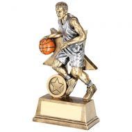 Bronze Pewter Orange Male Basketball Figure With Star Backing Trophy Award - 7in : New 2018