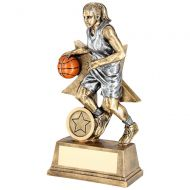 Bronze Pewter Orange Female - Ladies Basketball Figure With Star Backing Trophy Award : New 2018