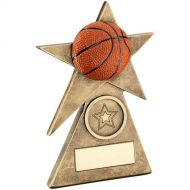 Bronze/Gold/Orange Basketball Star On Pyramid Base Trophy - - 4in