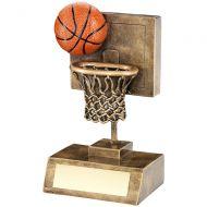 Bronze/Gold/Orange Basketball Net Backboard Trophy - 6in