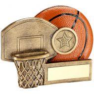 Bronze/Orange Basketball And Net Chunky Flatback Trophy Award - 3.25in : New 2018