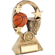 Bronze/Gold/Orange Basketball Oval/Stars Series Trophy - 6.25in