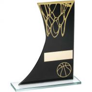 Black/Gold Printed Glass Plaque Basketball/Net Trophy - 6.5in