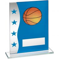 Blue/Silver Printed Glass Plaque With Basketball Image Trophy Award - 8in : New 2018