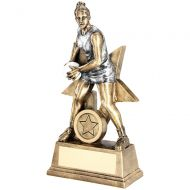 Bronze/Pewter/White Female - Ladies Netball Figure With Star Backing Trophy Award - 6in : New 2018