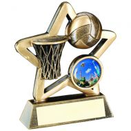 Bronze/Gold Netball Mini Star Trophy 3.75in