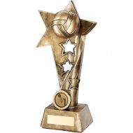 Bronze/Gold Netball Twisted Star Column Trophy - 9in