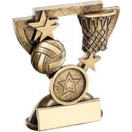 Bronze/Gold Netball Mini Cup Trophy - 3.75in