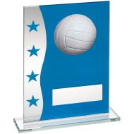 Blue/Silver Printed Glass Plaque With Netball Image Trophy Award - 6.5in : New 2018