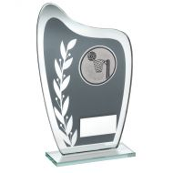 Grey/Silver Glass Plaque Netball Trophy 6.5in