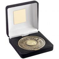 Black Velvet Box And 70mm Umpire Medallion With Netball Insert - Antique Gold : New 2018