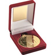 Red Velvet Box Medal Netball Trophy Gold 3.5in