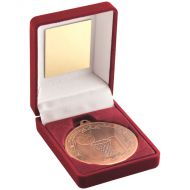 Red Velvet Box Medal Netball Trophy Bronze 3.5in
