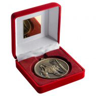 Red Velvet Box And 60mm Medal Netball Trophy Antique Gold 4in : New 2019