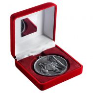 Red Velvet Box And 60mm Medal Netball Trophy Antique Silver 4in : New 2019