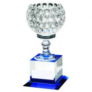 Clear/Blue Glass Goblet On Block Base Trophy 9.25in