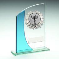 Jade/Blue Rectangle Glass Silver Wreath Trim Trophy 5.25in