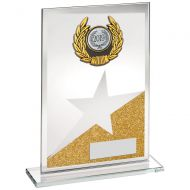 Jade/Gold/Silver Glass Plaque With Silv/Blk Trim Trophy Award - 6.5in : New 2018