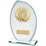Jade/Frosted Glass Plaque With Gold Trim Trophy Award - (2in Centre) - 7.5in : New 2018