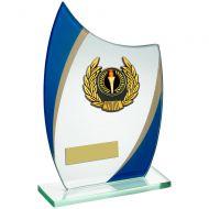 Jade/Blue/Gold Curved Glass Gold/Black Wreath Trim Trophy 6.75inch