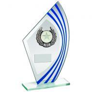 Jade/Blue/Silver Sail Glass Silver/Black Wreath Trim Trophy 8.75