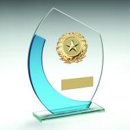 Jade/Blue Oval Glass Gold Wreath Trim Trophy 6in