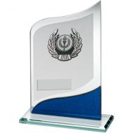 Jade/Blue/Silver Pointed Glass Silver/Black Trim Trophy - 7.25in