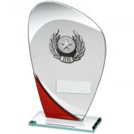Jade/Red/Silver Glass Plaque Silver/Black Trim Trophy - 6.5in