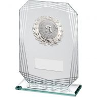 Jade/Silver Rectangle Glass With Silver Trim Trophy Award - (2in Centre) - 7.5in : New 2018