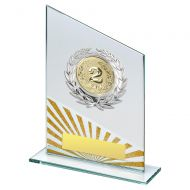 Jade Silver Gold Glass Plaque With Silver Trim Trophy (2in Centre) 7.25in : New 2019
