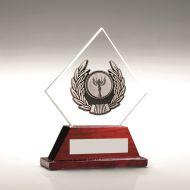 Jade Round Glass/Rosewood Base Silver Wreath Trim Trophy 4.2