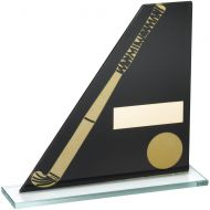 Black/Gold Printed Glass Plaque Hockey Stick/Ball Trophy - 6.5in