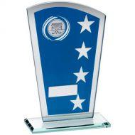 Blue/Silver Printed Glass Shield Hockey Trophy - 7.25in