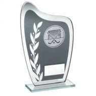 Grey/Silver Glass Plaque Hockey Trophy 6.5in