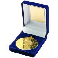 Blue Velvet Box Medal Hockey Trophy Gold 3.5in