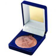 Blue Velvet Box Medal Hockey Trophy Bronze 3.5in