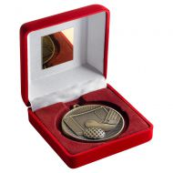 Red Velvet Box And 60mm Medal Hockey Trophy Antique Gold 4in : New 2019